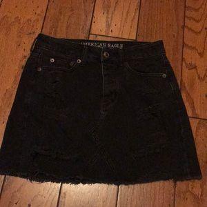 American Eagle black frayed denim skirt